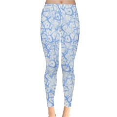 Officially Sexy Powder Blue & White Cracked Pattern Leggings  by OfficiallySexy