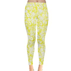 Officially Sexy Yellow & White Cracked Pattern Leggings  by OfficiallySexy