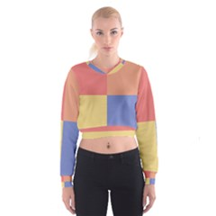 4 Squares   Women s Cropped Sweatshirt by LalyLauraFLM