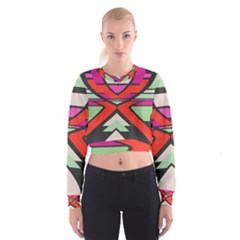 Shapes In Retro Colors   Women s Cropped Sweatshirt
