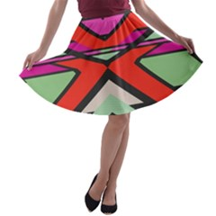 Shapes In Retro Colors A Line Skater Skirt by LalyLauraFLM