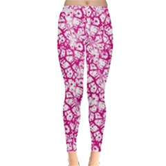Officially Sexy Pink & White Cracked Pattern Leggings  by OfficiallySexy