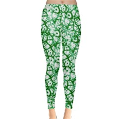Officially Sexy Green & White Cracked Pattern Leggings  by OfficiallySexy