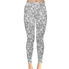 Officially Sexy Grey & White Cracked Pattern Leggings  by OfficiallySexy