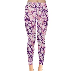 Officially Sexy Soft Pink & Dark Purple Cracked Pattern Leggings  by OfficiallySexy
