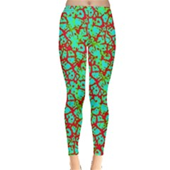 Officially Sexy Officially Sexy Turquoise Yellowish Green & Red Cracked Pattern Leggings  by OfficiallySexy