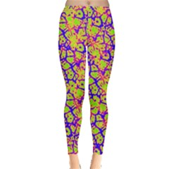 Officially Sexy Officially Sexy Olive Green Pink Yellow & Purple Cracked Pattern Leggings  by OfficiallySexy