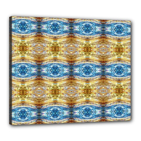 Gold And Blue Elegant Pattern Canvas 24  X 20  by Costasonlineshop