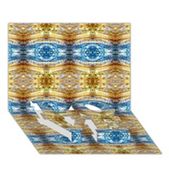 Gold And Blue Elegant Pattern Love Bottom 3d Greeting Card (7x5)