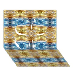 Gold And Blue Elegant Pattern Clover 3d Greeting Card (7x5)