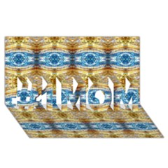 Gold And Blue Elegant Pattern #1 Mom 3d Greeting Cards (8x4)