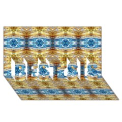 Gold And Blue Elegant Pattern Best Sis 3d Greeting Card (8x4)