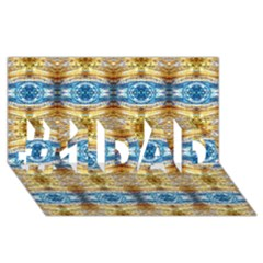 Gold And Blue Elegant Pattern #1 Dad 3d Greeting Card (8x4)  by Costasonlineshop