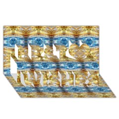 Gold And Blue Elegant Pattern Best Wish 3d Greeting Card (8x4)  by Costasonlineshop