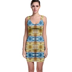 Gold And Blue Elegant Pattern Bodycon Dresses by Costasonlineshop