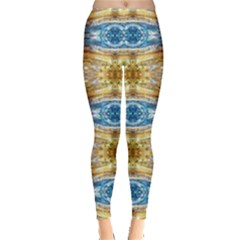Gold And Blue Elegant Pattern Women s Leggings by Costasonlineshop