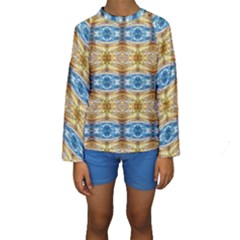 Gold And Blue Elegant Pattern Kid s Long Sleeve Swimwear by Costasonlineshop