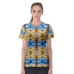 Gold And Blue Elegant Pattern Women s Sport Mesh Tees by Costasonlineshop