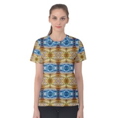 Gold And Blue Elegant Pattern Women s Cotton Tee by Costasonlineshop