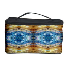 Gold And Blue Elegant Pattern Cosmetic Storage Cases by Costasonlineshop