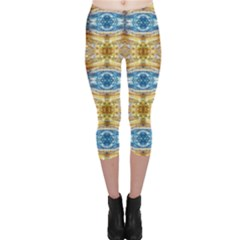 Gold And Blue Elegant Pattern Capri Leggings by Costasonlineshop