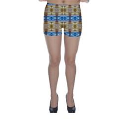 Gold And Blue Elegant Pattern Skinny Shorts by Costasonlineshop