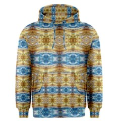 Gold And Blue Elegant Pattern Men s Pullover Hoodies by Costasonlineshop