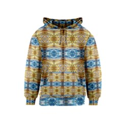 Gold And Blue Elegant Pattern Kids Zipper Hoodies by Costasonlineshop