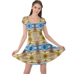 Gold And Blue Elegant Pattern Cap Sleeve Dresses by Costasonlineshop
