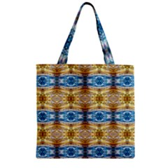 Gold And Blue Elegant Pattern Zipper Grocery Tote Bags by Costasonlineshop