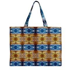 Gold And Blue Elegant Pattern Zipper Tiny Tote Bags by Costasonlineshop