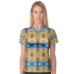 Gold And Blue Elegant Pattern Women s V Neck Sport Mesh Tee by Costasonlineshop