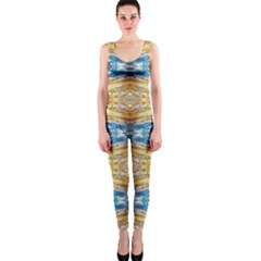 Gold And Blue Elegant Pattern OnePiece Catsuits by Costasonlineshop