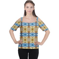 Gold And Blue Elegant Pattern Women s Cutout Shoulder Tee by Costasonlineshop
