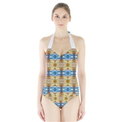 Gold And Blue Elegant Pattern Women s Halter One Piece Swimsuit