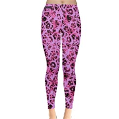 Officially Sexy Baby Pink & Black Cracked Pattern Leggings  by OfficiallySexy