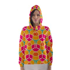 Shapes In Retro Colors Pattern Hooded Wind Breaker (women) by LalyLauraFLM