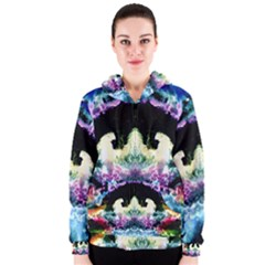 Space Cosmos Black Blue White Red Women s Zipper Hoodies