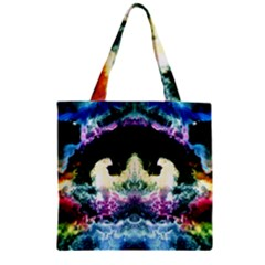 Space Cosmos Black Blue White Red Zipper Grocery Tote Bags
