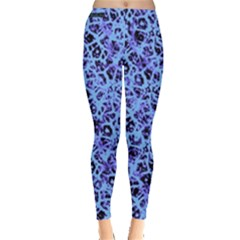 Officially Sexy Powder Blue & Black Cracked Pattern Leggings  by OfficiallySexy