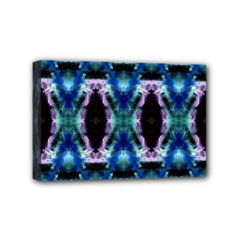 Blue, Light Blue, Metallic Diamond Pattern Mini Canvas 6  X 4