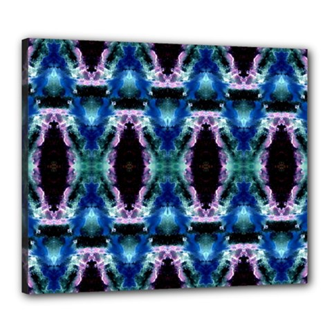 Blue, Light Blue, Metallic Diamond Pattern Canvas 24  X 20  by Costasonlineshop