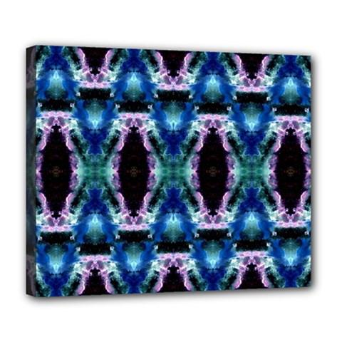 Blue, Light Blue, Metallic Diamond Pattern Deluxe Canvas 24  X 20   by Costasonlineshop