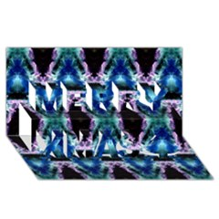 Blue, Light Blue, Metallic Diamond Pattern Merry Xmas 3D Greeting Card (8x4)  by Costasonlineshop