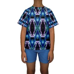 Blue, Light Blue, Metallic Diamond Pattern Kid s Short Sleeve Swimwear by Costasonlineshop