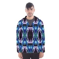 Blue, Light Blue, Metallic Diamond Pattern Hooded Wind Breaker (men) by Costasonlineshop