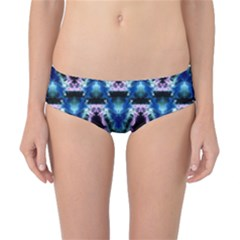 Blue, Light Blue, Metallic Diamond Pattern Classic Bikini Bottoms