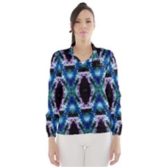 Blue, Light Blue, Metallic Diamond Pattern Wind Breaker (women)
