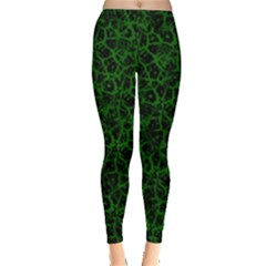 Officially Sexy Green & Black Cracked Pattern Leggings  by OfficiallySexy