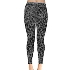 Officially Sexy Grey & Black Cracked Pattern Leggings  by OfficiallySexy